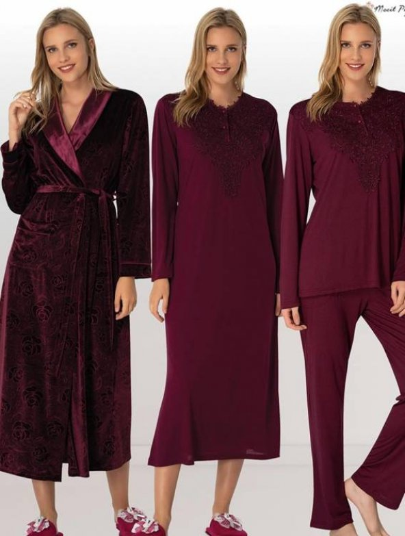 Mecit 5 li Lohusa Hamile Kadife Bordo Gecelik Pijama Sabahlık Set 6016