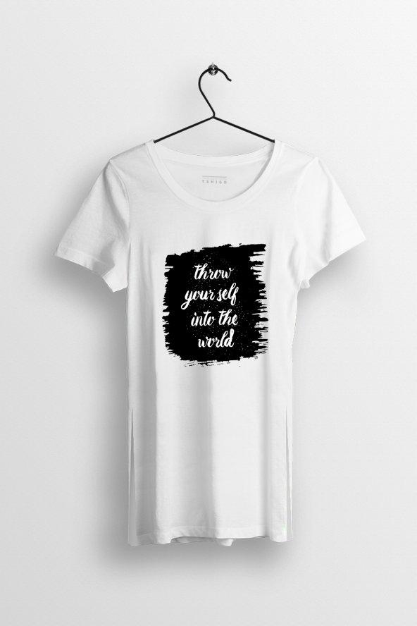 Throw Yourself Baskılı Yırtmaçlı Oversize Kadın Tshirt