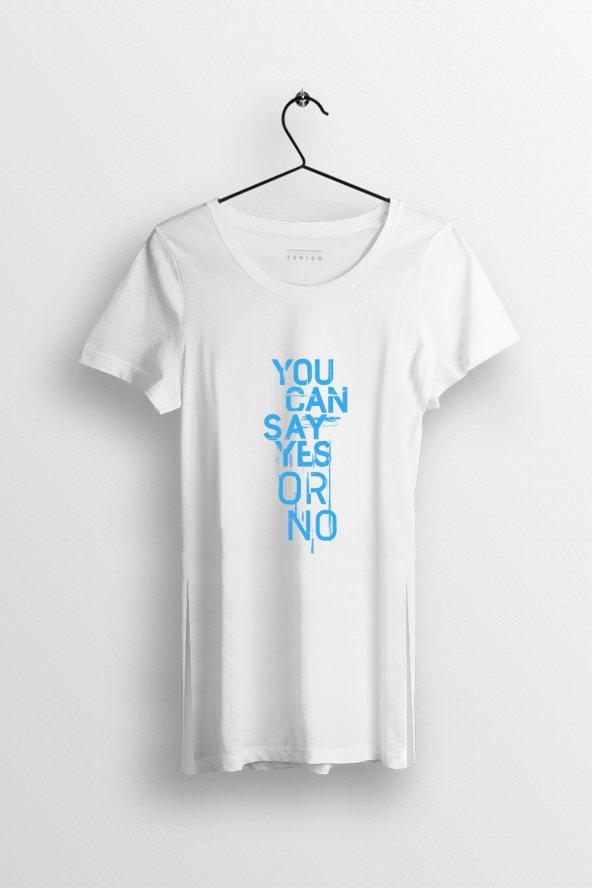 You Can Say Yes or No Baskılı Yırtmaçlı Oversize Kadın Tshirt