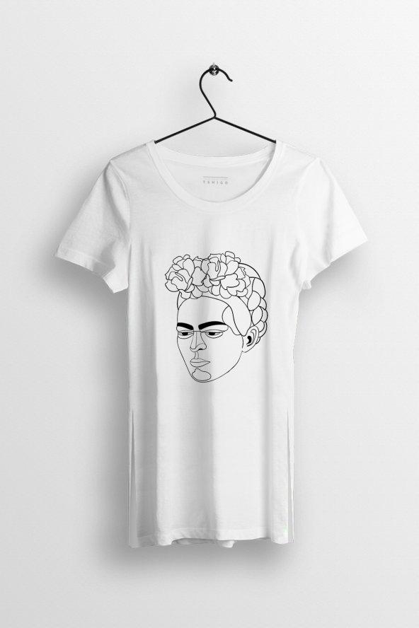 Line Art Kahlo Baskılı Yırtmaçlı Oversize Kadın Tshirt