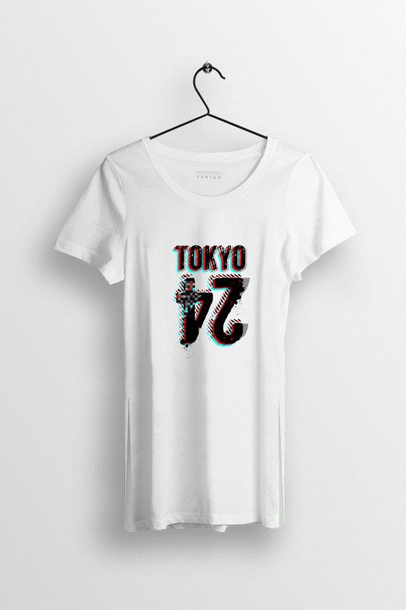 Tokyo 24 Baskılı Yırtmaçlı Oversize Kadın Tshirt