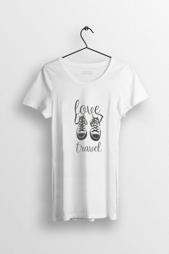 Love Travel Baskılı Yırtmaçlı Oversize Kadın Tshirt