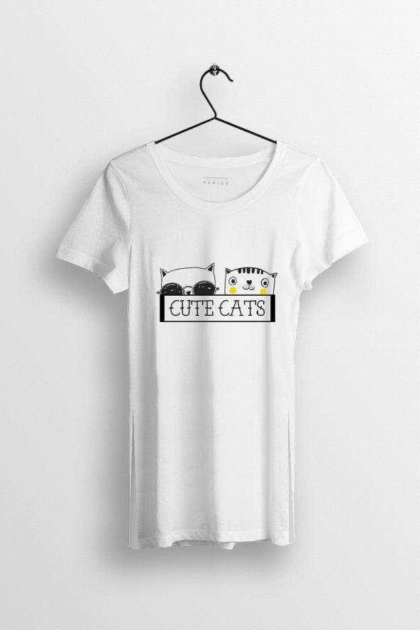 Cute Cats Baskılı Yırtmaçlı Oversize Kadın Tshirt