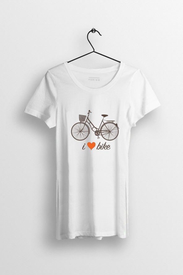 I Love Bike Baskılı Yırtmaçlı Oversize Kadın Tshirt