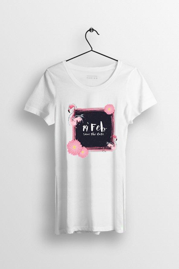 14 Feb Baskılı Yırtmaçlı Oversize Kadın Tshirt