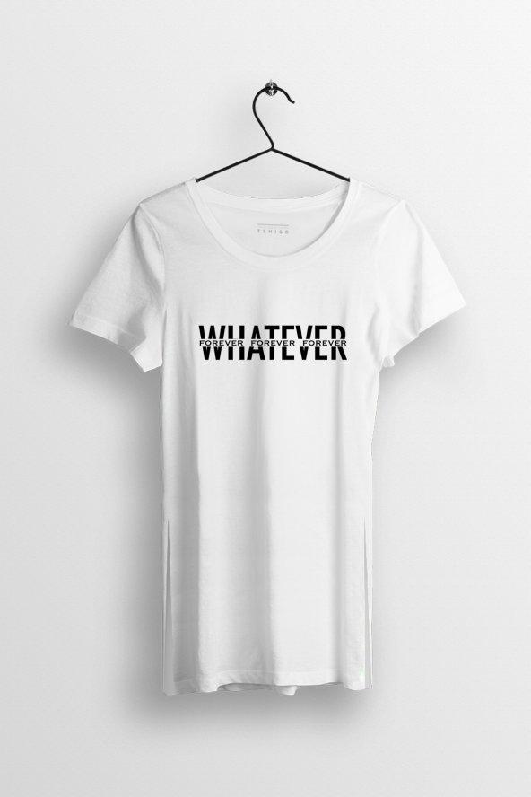 Whatever Baskılı Yırtmaçlı Oversize Kadın Tshirt