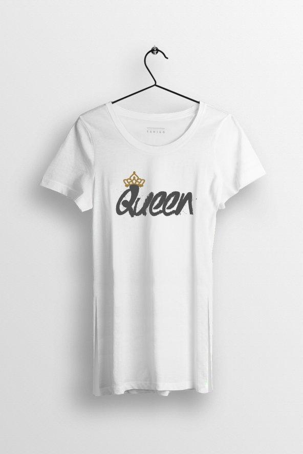Queen Baskılı Yırtmaçlı Oversize Kadın Tshirt