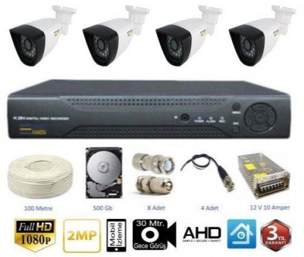 4 Kameralı Full HD Ahd Set
