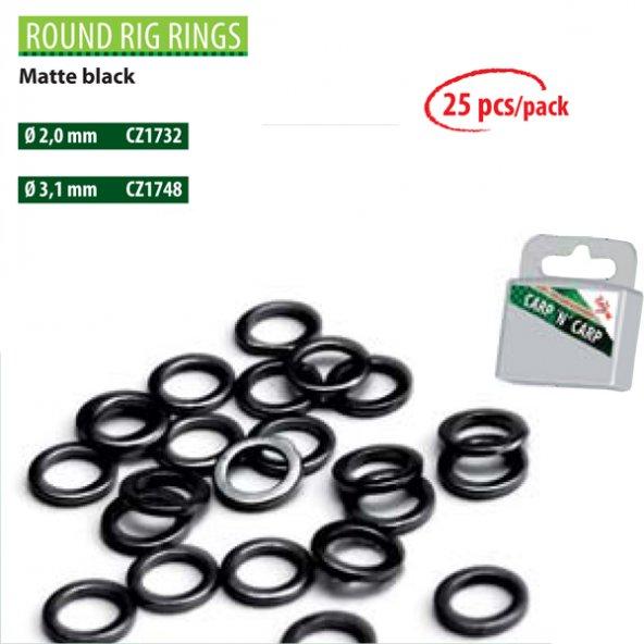 CZ 1731 Round Rig Rings 2 mm, Matte Black (25Pcs)