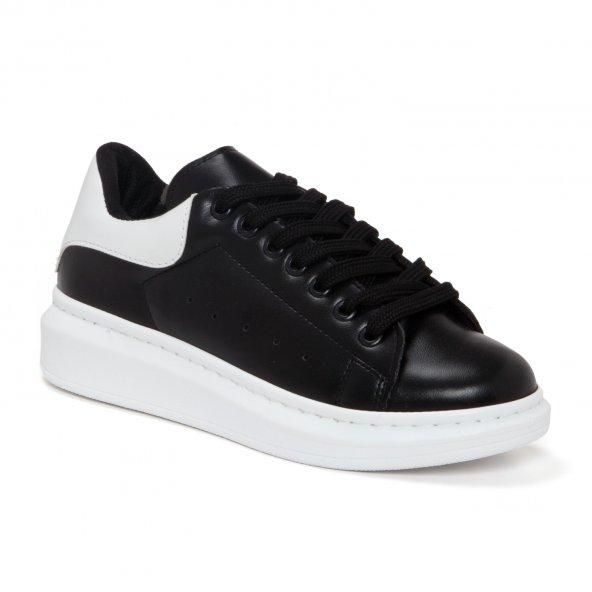 Siyah Beyaz Detaylı Yüksek Taban Bayan Günlük Sneaker Ayakkabı