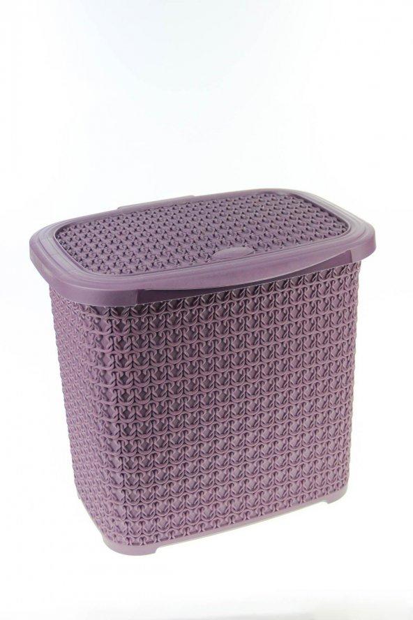 Örgü Desenli Mürdüm Rengi Plastik Deterjan Kutusu 10 LT