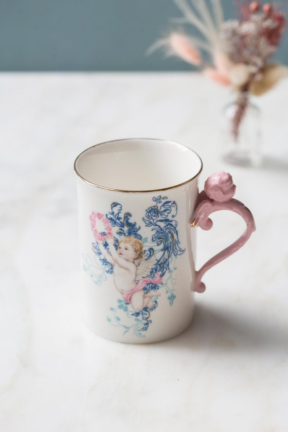 Pembe Melekli Kupa Bardağı