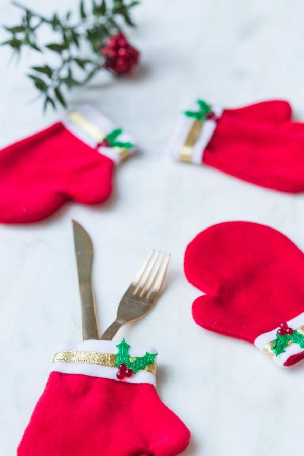 Kırmızı Noel Eldiveni İkili Kaşık Seti