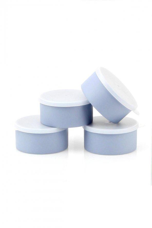 Koyu Mavi Rengi 4lü Plastik Yemek Saklama Kutusu