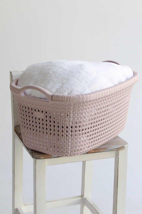 Örgü desenli Toz Pembesi rengi plastik çamaşır sepeti 35 LT