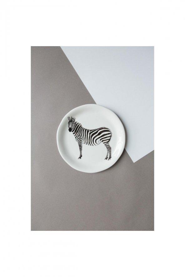 Zebra desenli seramik tatlı-kahvaltılık Tabağı