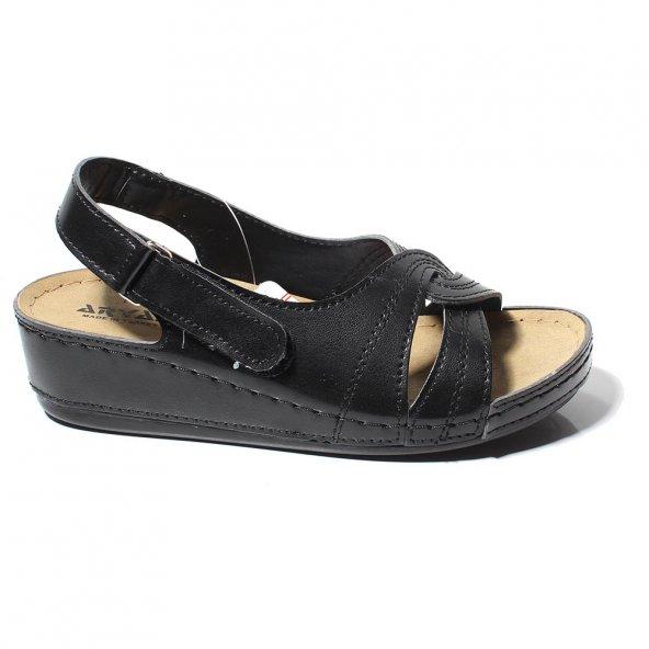 Aryan Kadın Günlük Ortapedik    Siyah Sandalet