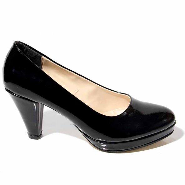 KADIN 10mmPlatform Ortapedik Rahat Şık Siyah Rugan Ayakkabı