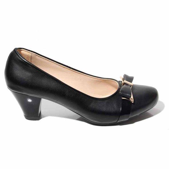 AKGÜNEŞ Kadın Günlük Rahat Şık Ortapedik Siyah Topuklu Ayakkabı