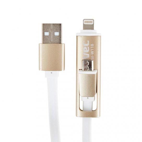 AVEC AV-W118 USB-MICRO USB+IP5/6 1M KABLO