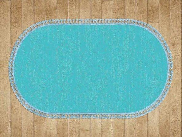 Mavi Düz Renk Modern Oval Halı - HS97012PO