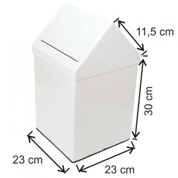 1314 Çatı Kapaklı Boyalı Çöp Kovası 16 Lt