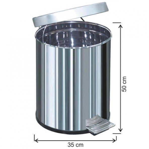 1051 Pedallı Çöp Kovası Metal İç Kovalı 50 Litre