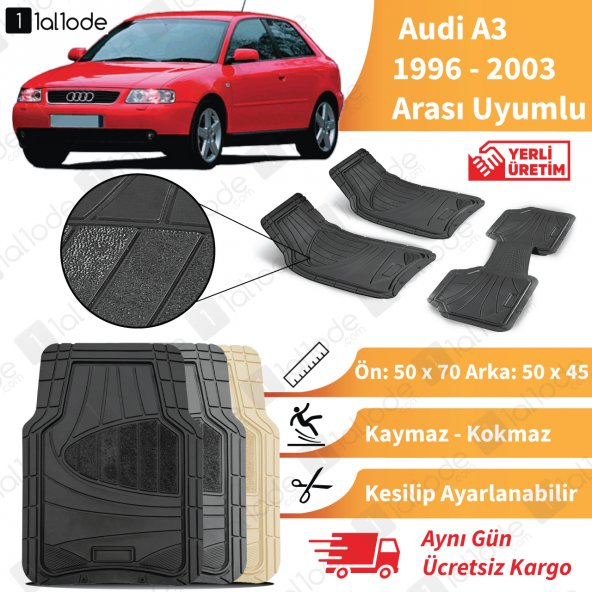 Audi A3 1996 2003 Arası Uyumlu Paspas Seti Siyah  Gri Bej
