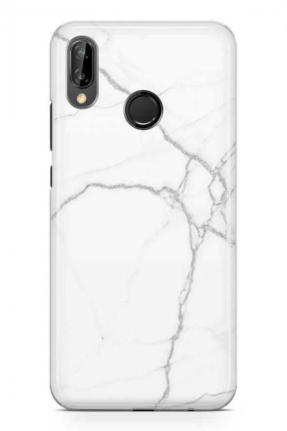Huawei P20 Lite Kılıf Marble Mermer Beyaz Siyah