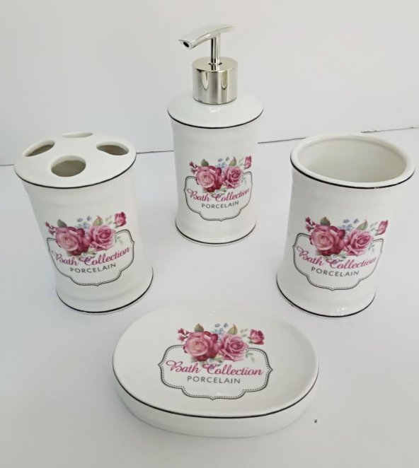 4lü Porselen Pembe Çiçekli Sıvı Sabunluk Diş Fırçalık Banyo Seti