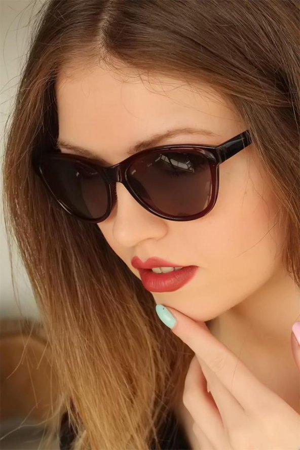 Bordo Renk Çerçeveli Clariss Marka Bayan Güneş Gözlüğü