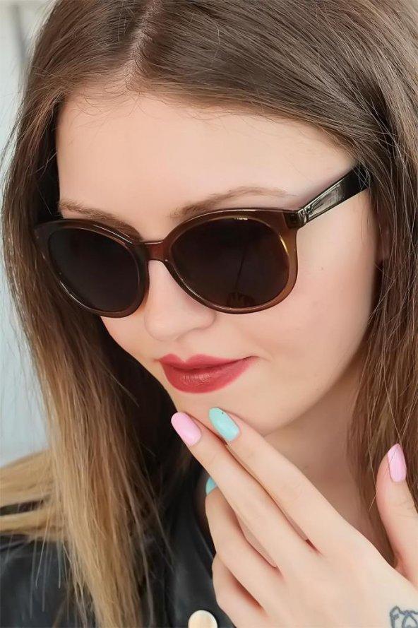 Kahverengi Oval Clariss Marka Bayan Güneş Gözlüğü