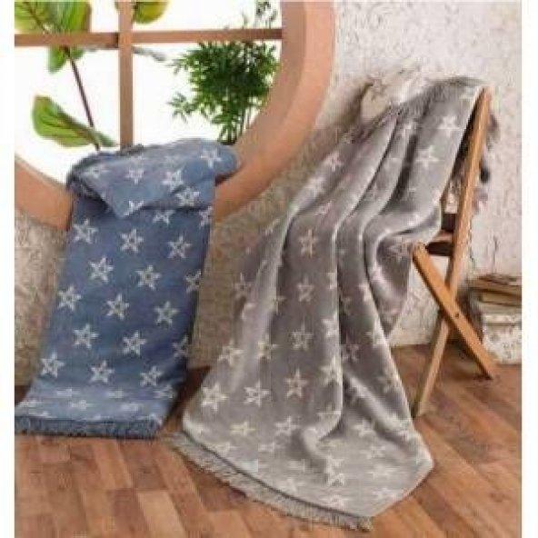 Aksu Starry Çift Kişilik Pamuklu Battaniye 180x220