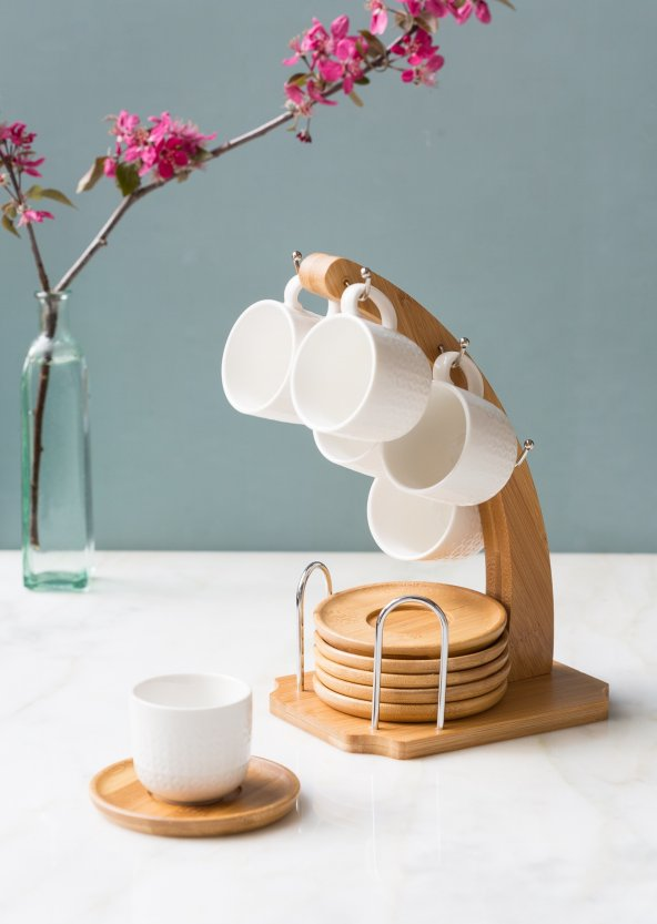Tek Ayaklı Bambu 6'lı Kahve Takımı