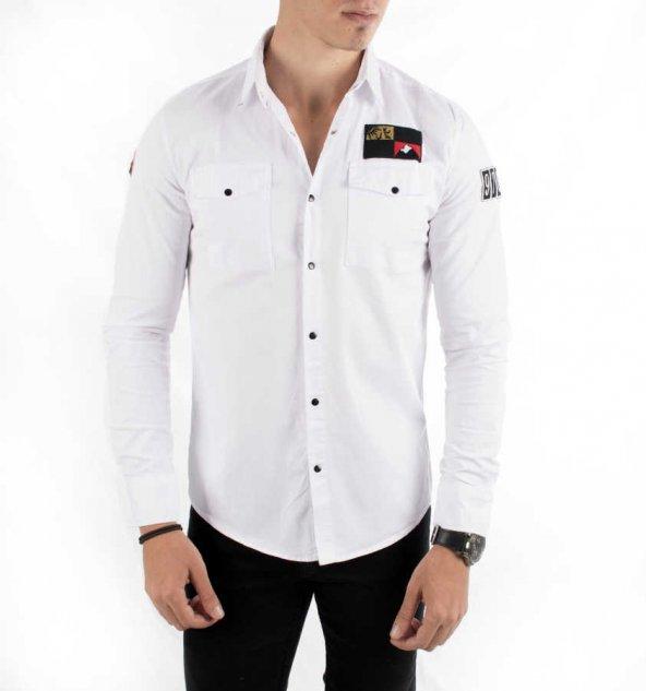 DeepSEA Kolları ve Önü Armalı Çıtçıtlı Spor Kanvas Erkek Gömlek 1