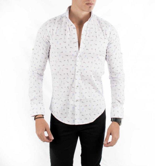 DeepSEA İtalyan Kesim Baskılı Uzun Kollu Erkek Gömlek 1804013