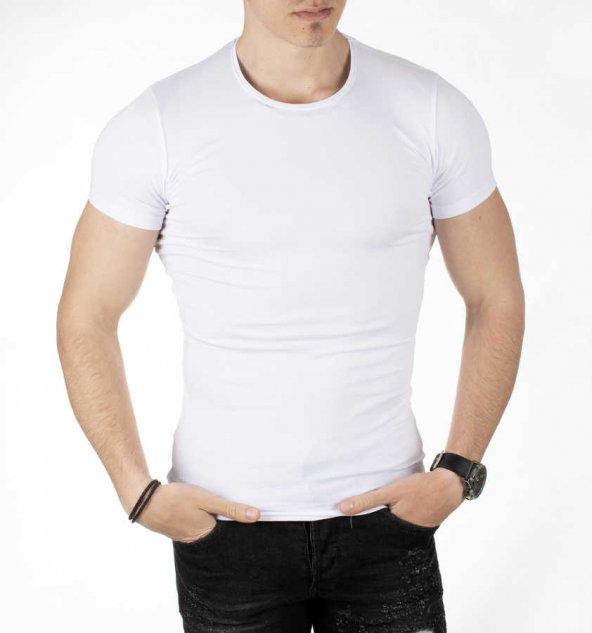 DeepSEA Sıfır Yakalı Likralı Dar Kesim Basic Erkek Tişört 1801131