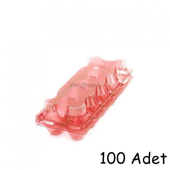 10 lu Plastik Pembe Şeffaf Yumurta Viyolü  (100 Adet)