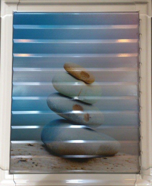 60 X 35 Alüminyum Dekoratif Baskılı Lüks Banyo Wc Panjur
