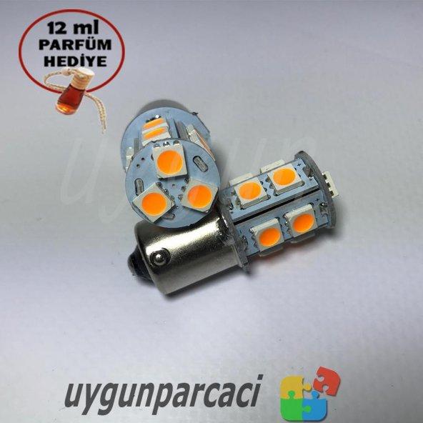 Led Sinyal Ampülü Turuncu Renk 13 Ledli - Oto Parfüm Hediye !!!