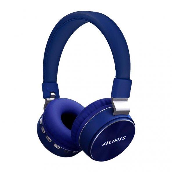 Auris Wireless Süper Bass Kafa Bantlı Kulaklık Mavi ARS-008