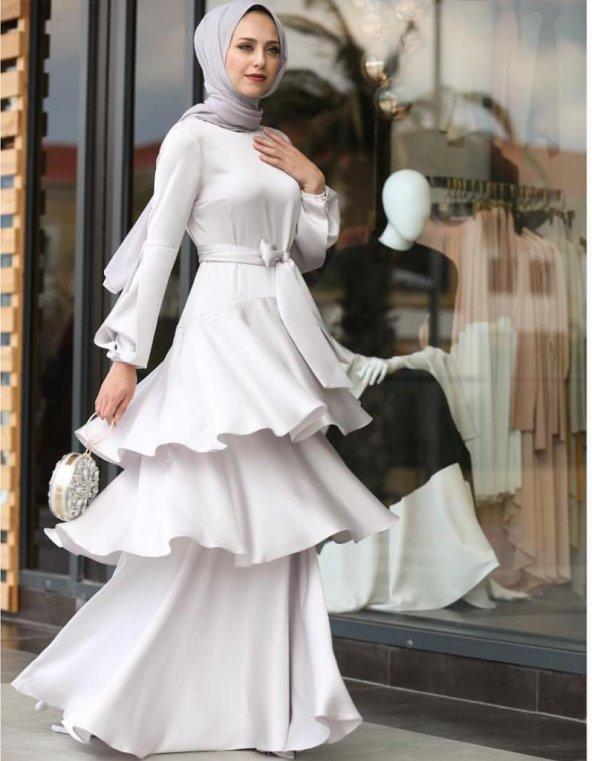 Gri abiye elbise GRİ - 38