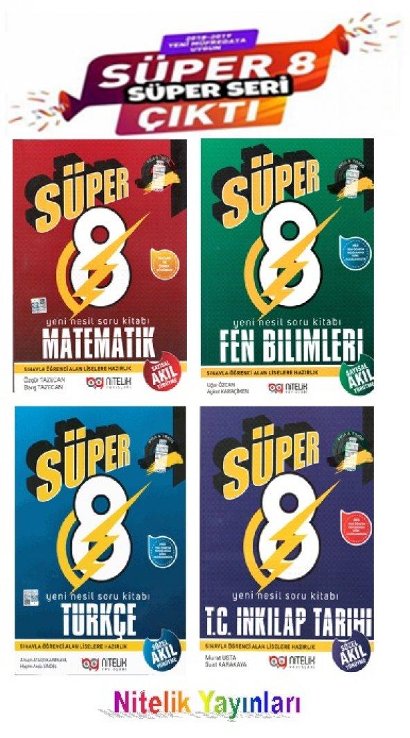 Süper 8. Sınıf 4'lü Soru Kitabı Seti Nitelik Yayınları