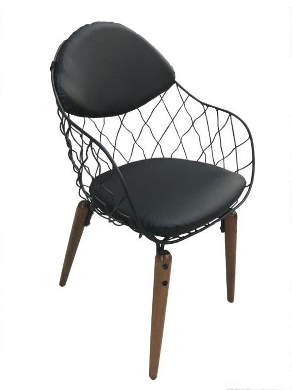Bengi Mutfak Sandalye Tel Ahşap Ayaklı Optima Tornalı