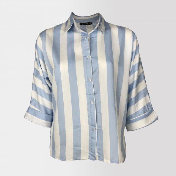 Vesyum Çizgili Arkası Uzun Mavi Gömlek