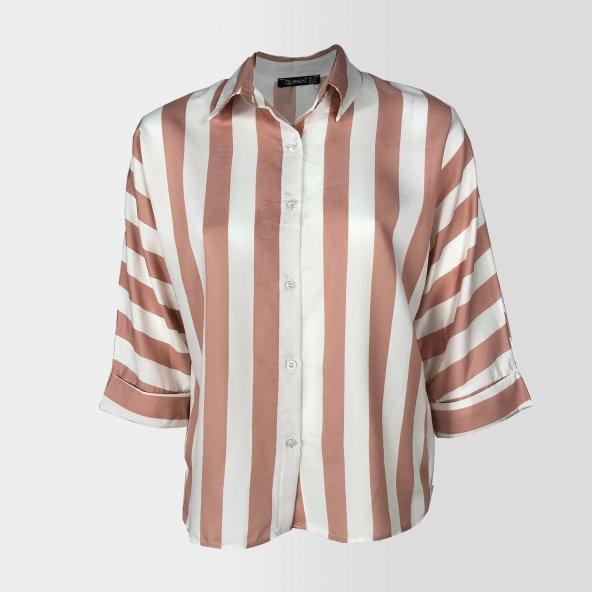 Vesyum Çizgili Arkası Uzun Gömlek