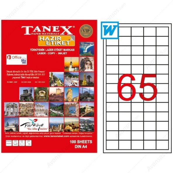 Tanex TW-2165 38,1x21,2 mm Laser Etiket 100 Adet