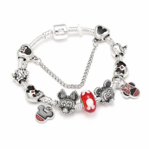 Angemiel Kırmızı Kalp Bay Bayan Sevimli Fare Temalı Aşk Charm Bileklik