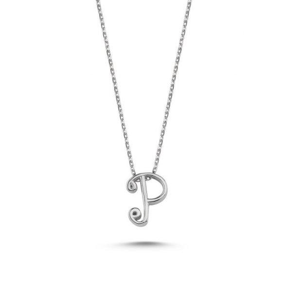 Angemiel 925 Gümüş -P- Harfli Hayalet Kolye - Rodyum Kaplama