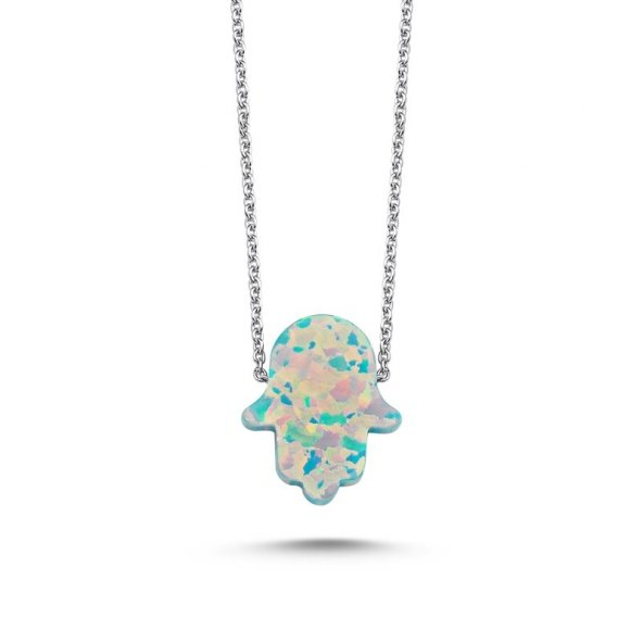 Angemiel 925 Gümüş Açık Yeşil Opal Fatma Ana Eli Kolye